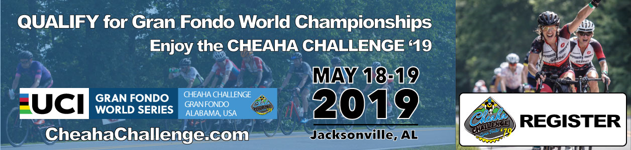 Cheaha Challenge Gran Fondo, Century & Ultra, Alabama, May 18-19, 2019 - REGISTER NOW!