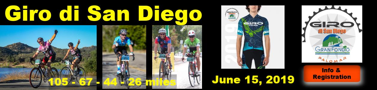 Giro di San Diego Gran Fondo, Escondido, CA, June 15 2019 - LEARN MORE!