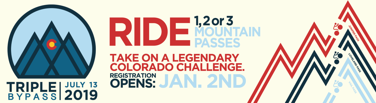 Triple Bypass Ride, Colorado's Premiere Cycling Challenge, July 13 2019 - REGISTER NOW!
