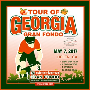 Giordana GFNCS Tour of Georgia Gran Fondo, Clayton, May 7th 2017, 4 Timed Sections, 3 Distances - Register NOW!