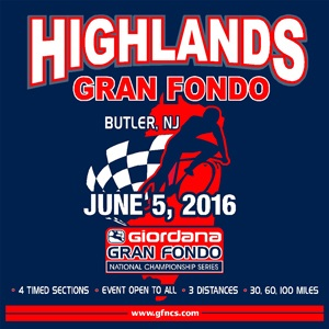 Giordana GFNCS Highlands Gran Fondo, New Jersey, June 5th, 4 Timed Sections, 3 Distances - Register NOW!