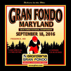 Giordana GFNCS Gran Fondo Maryland, National Championship, September 18th, 4 Timed Sections, 3 Distances - Register NOW!