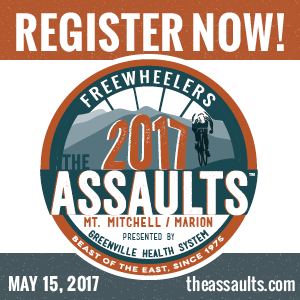The Assaults on Mt. Mitchell and Marion, Spartanburg, SC, May 15th 2017. The SouthEast's Premier Cycling Experience. Register Now!